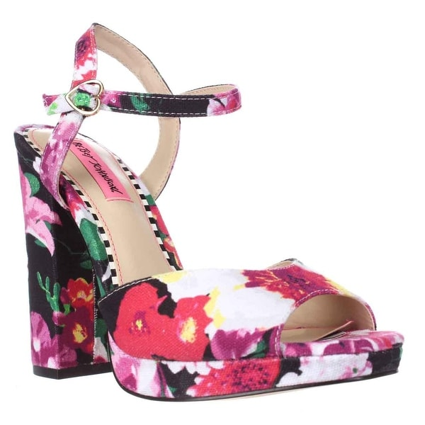Betsey Johnson Isla Ankle Strap Dress Sandals, Black Floral