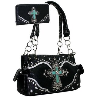 Women Studded Western Camo Shoulder Bag with Matching Wallet - Black