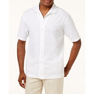 Cubavera White Mens Size Small S Button Down Embroidered Shirt