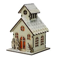 """4.5"""" Lighted Laser Cut Wooden Church with Boy and Girl Christmas Decoration - Brown"""