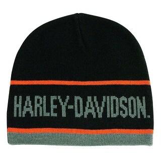 Harley-Davidson Men's H-D Script Striped Knitted Beanie Cap, Black KNCUS027030