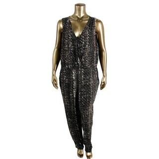 Jessica Simpson Womens Plus Printed Sleeveless Jumpsuit - 3X