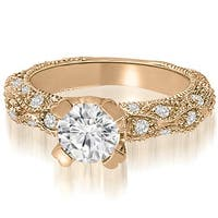 1.45 cttw. 14K Rose Gold Antique Style Scattered Round Diamond Engagement Ring
