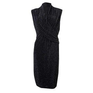 Marc New York Women's Draped V-Neck Metallic Jersey Dress - m