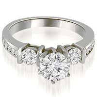 1.10 cttw. 14K White Gold Bar Set Round Cut Diamond Engagement Ring