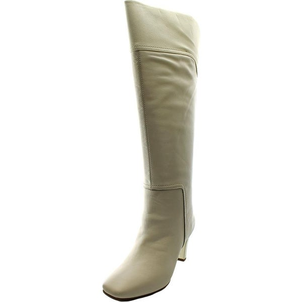 Bandolino Viet Women Square Toe Leather Ivory Knee High Boot