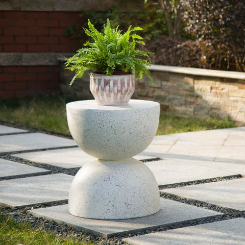 """Glitzhome 18""""H Modern Multi-functional MGO Faux Terrazzo Garden Stool Plant Stand Accent Table"""