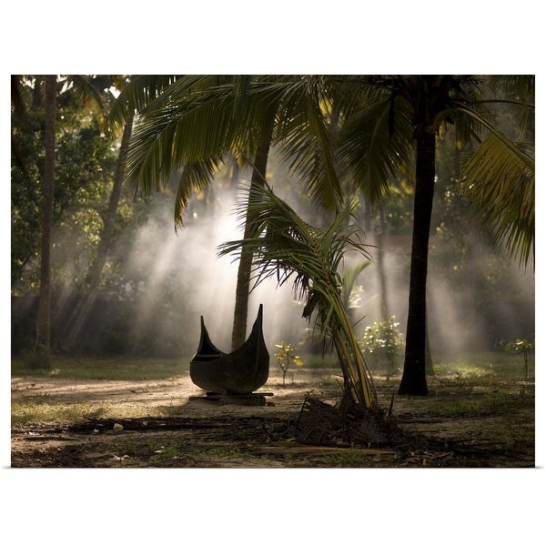 """""""Canoe under palm trees in Kerala, India"""" Poster Print"""