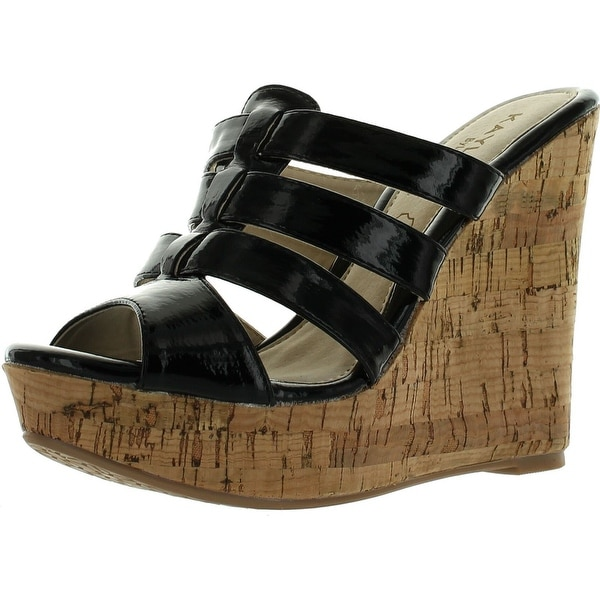 Kayleen Evie-2 Womens Patent Silde On Platform High Heel Wedge Sandals - Black - 7 b(m) us