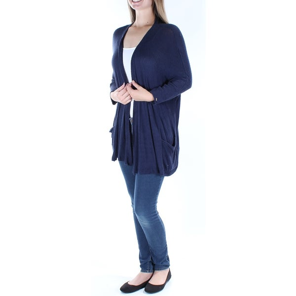 63a2f308788 Shop TOMMY HILFIGER  70 Womens New 1142 Navy Pocketed Long Sleeve Vest  Sweater M B+B - Free Shipping On Orders Over  45 - Overstock - 21239674
