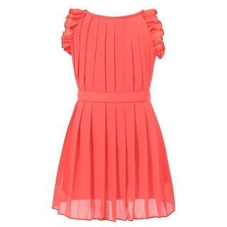 Richie House Girls' Pleated Dress With Ruffled Sleeve