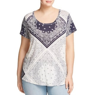 Lucky Brand Womens Plus Pullover Top Knit Printed - 1x