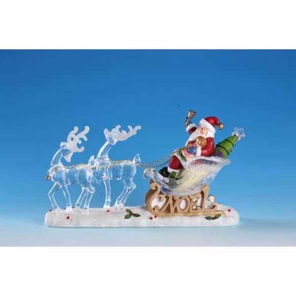 "Pack of 2 Icy Crystal Illuminated Santa on Sleigh with Reindeer Figurines 7"" - WHITE"