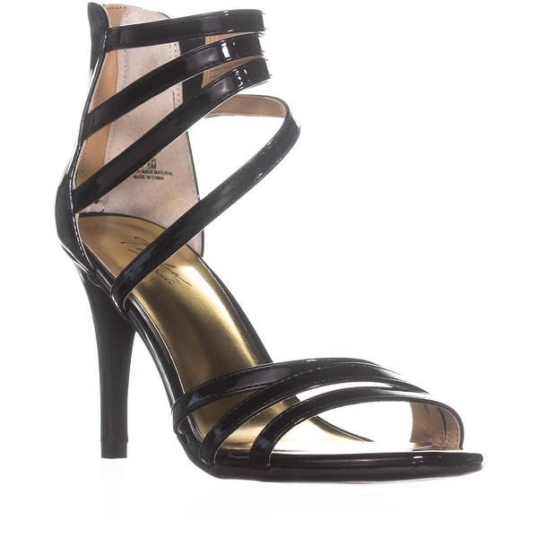 TS35 Karlee Strappy Zip-Up Sandals , Black Patent
