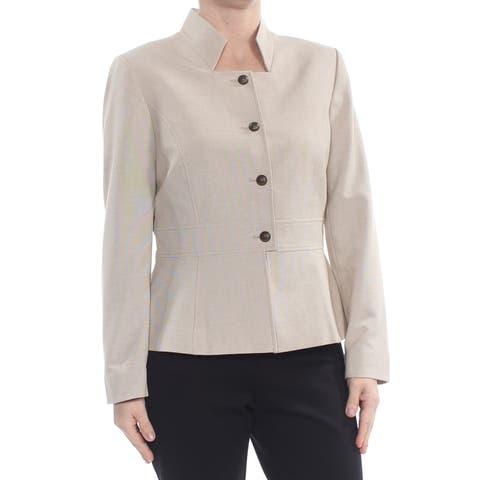 TAHARI Womens Beige Blazer Wear To Work Jacket Petites Size: 6