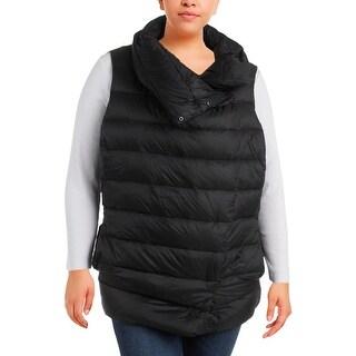 Lauren Ralph Lauren Womens Plus Outerwear Vest Down Funnel Neck