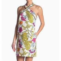 Trina Turk White Ivory Womens Size 8 Floral Halter Sheath Dress