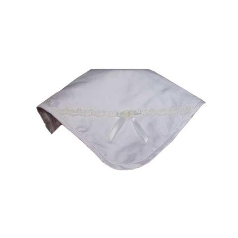 Little Things Mean A Lot Champagne Silk Dupioni Venice Trim Bow Blanket - One Size