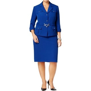 Tahari ASL Womens Plus Skirt Suit Crepe Jewel Details