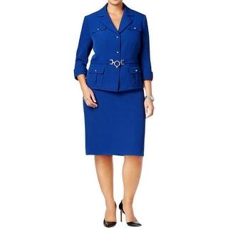 Tahari ASL Womens Plus Skirt Suit Crepe Jewel Details