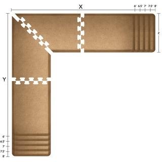 WellnessMats Puzzle Piece Collection 6.5 X 6.5 X 2 Feet, 4 Piece L Series Anti-Fatigue Office & Kitchen Mat Set, Granite Gold