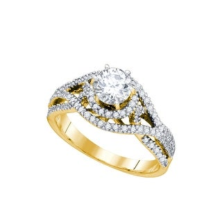 14K Yellow Gold Womens Natural Round Diamond Woven Openwork Bridal Wedding Engagement Ring 7/8 Cttw - White