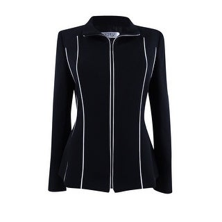 Link to Kasper Women's Piped Zip-Front Jacket - Black/Vanilla Ice Similar Items in Suits & Suit Separates