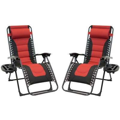 2pc Padded Zero Gravity Chair Set with Leg Stabilizers and Big Cupholder - Red & Black