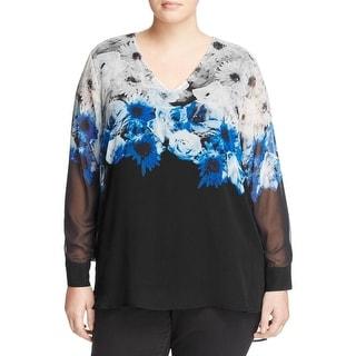 Calvin Klein Womens Plus Pullover Top Printed Long Sleeves