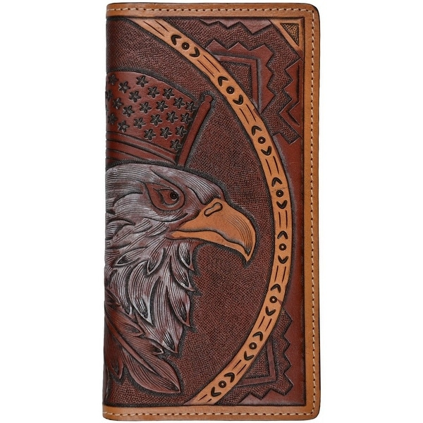 3D Western Wallet Mens Leather Rodeo Eagle ID Window Tan - One size