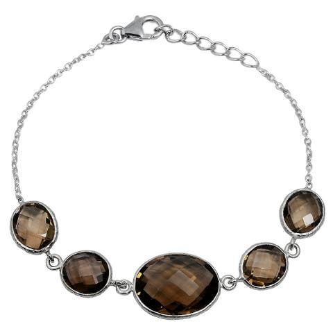 Smoky Quartz Sterling Silver Oval Chain Bracelet by Orchid Jewelry