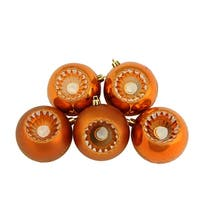 "5ct Shiny and Matte Burnt Orange Retro Reflector Shatterproof Christmas Ball Ornaments 3.25"" (80mm)"