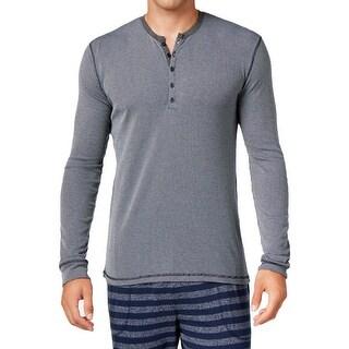 Kenneth Cole Reaction NEW Blue Mens Medium M Striped Henley Sleep Shirt