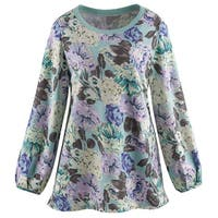 Women's Floral Print on Mint Green Tunic Sweatshirt - Long Sleeves, 100% Cotton
