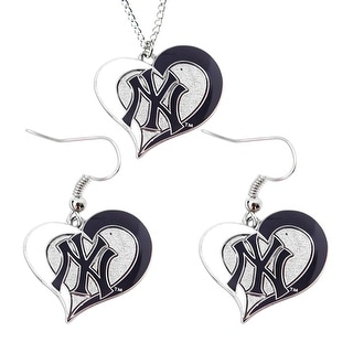 New York Yankees Swirl Heart Necklace and Dangle Earring Set MLB Charm Gift