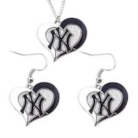 New York Yankees Swirl Heart Necklace and Dangle Earring Set MLB Charm Gift