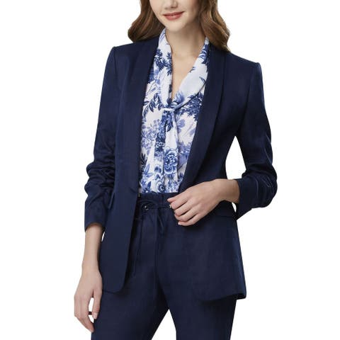 Tahari by ASL Women's Jacket Midnight Blue Size 6 Ruched Sleeve Linen