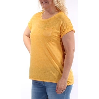 Womens Yellow Short Sleeve Crew Neck T-Shirt Top Size L
