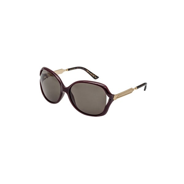 53f664978b Shop Gucci Gg 0076 S- 004 Burgundy Green Gold Sunglasses - BURGUNDY-GOLD-GREEN  - One Size - Free Shipping Today - Overstock - 24266514