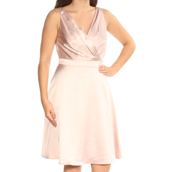 8c349bc5c18 Shop CALVIN KLEIN Womens Pink Sleeveless V Neck Knee Length Fit + Flare  Cocktail Dress Size  6 - Free Shipping On Orders Over  45 - Overstock -  24059761