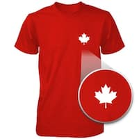 Canada Flag Pocket Print Red Shirts Cute Men's Round Neck Tees for Canadian