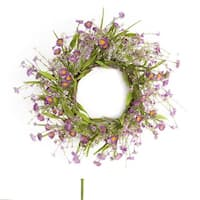 """Pack of 2 Spring White and Purple Blooming Artificial Cosmos Wreaths 23"""""""