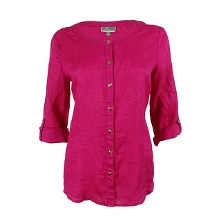 JM Collection Women's 100% Linen Button Down Shirt - pink pinata - 8P