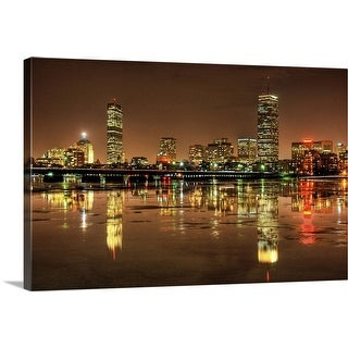 """""""Massachusetts Avenue Bridge and Boston skyline, reflected in the Charles River at night"""" Canvas Wall Art"""