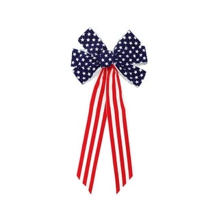 """14"""" x 28"""" Large Patriotic Stars and Stripes Indoor Velveteen 6 Loop Wired Christmas Bow - Red"""