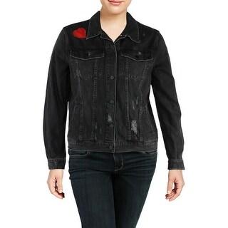 Sanctuary Womens Juniors Denim Jacket Distressed Embellished - XL