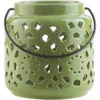 "6.5"" Madison Links Green Apple Ceramic Small Pillar Candle Holder Lantern"