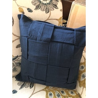 Handmade Cotton Blue 18-inch Throw Pillow