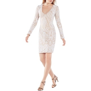 BCBG Max Azria Womens Morris Party Dress Sequined Long Sleeves