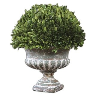 Uttermost 60113 Preserved Boxwood Ceramic Garden Urn with Natural Foliage - stony gray ceramic